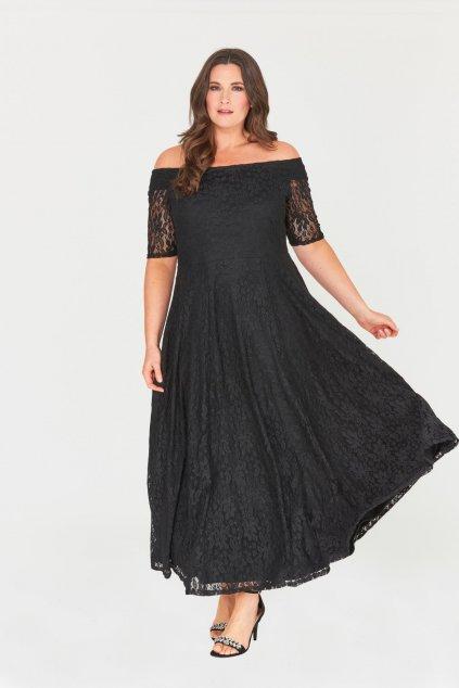 Dlouhé krajkové šaty Marble s krátkým rukávem černé 1