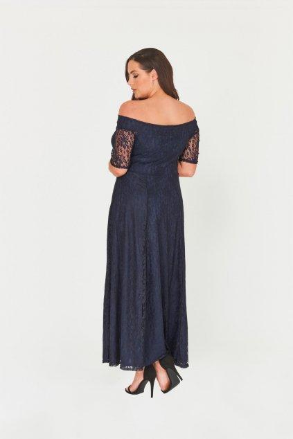 Dlouhé krajkové šaty Marble s krátkým rukávem tmavě modré 4