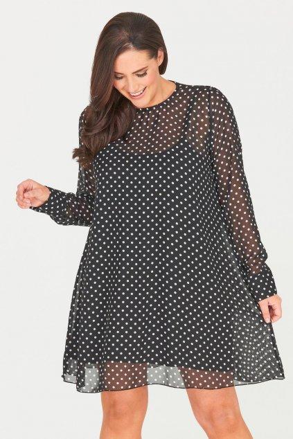 Puntíkové černé šaty Selby s dlouhým rukávem 1
