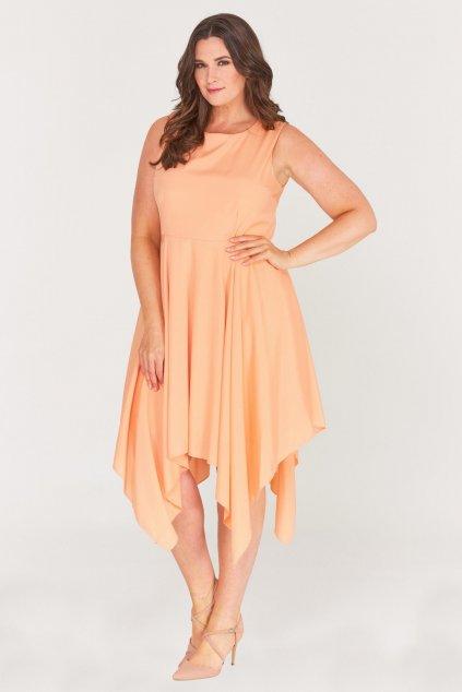 Meruňkové šaty Zendana s asymetrickou sukní 1