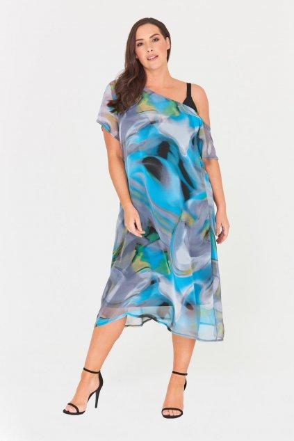 Šaty Havana s odhaleným ramenem modré 1