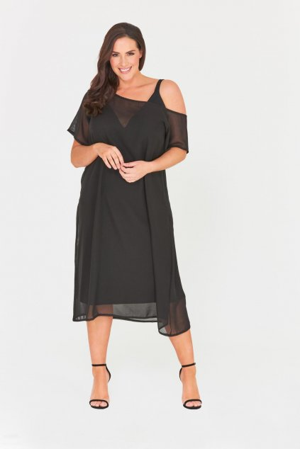 Šaty Havana s odhaleným ramenem černé 1