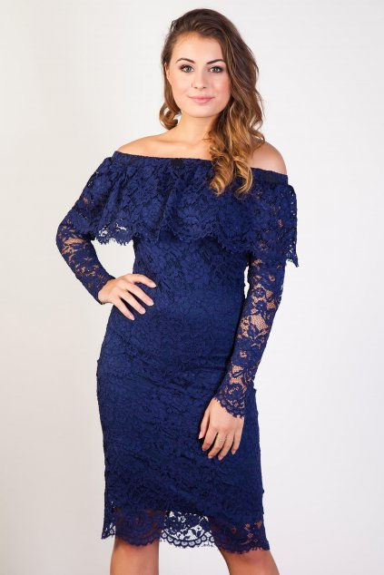 Krajkové šaty Earned s volánovým výstřihem modré 1