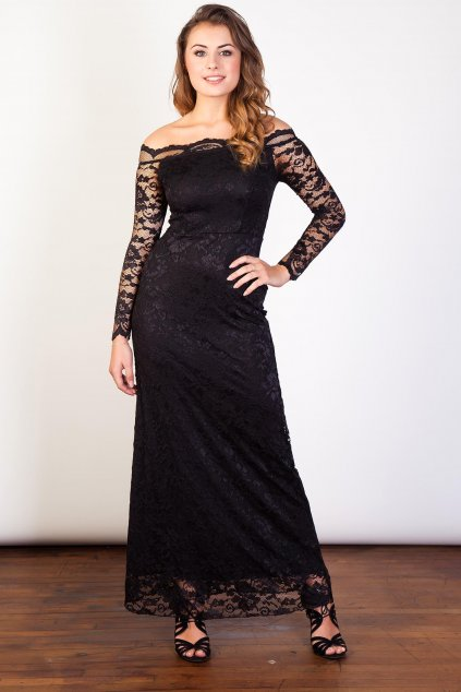 Dlouhé krajkové šaty Oasis s průsvitnými rukávy černé 1