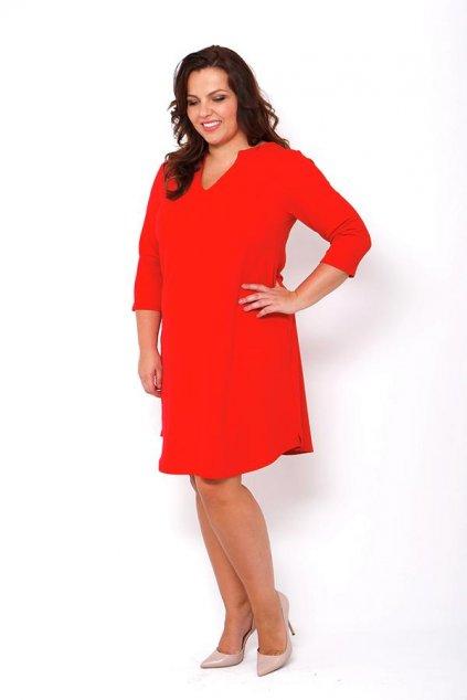 Jednoduché hladké šaty Keyhole červené 1