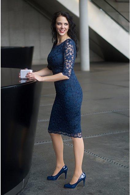 Krajkové šaty Adlib pouzdrového střihu modré 10