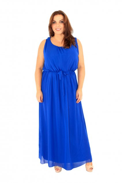 Dlouhé vzdušné šaty Vicky modré 1