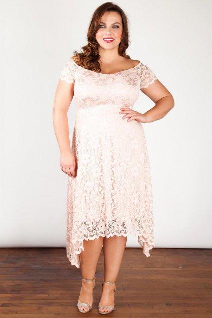 Krajkové šaty Rain s asymetrickou sukní smetanové 1
