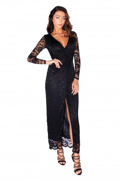 Dlouhé šaty Luxuriously s vysokým rozparkem černé 2