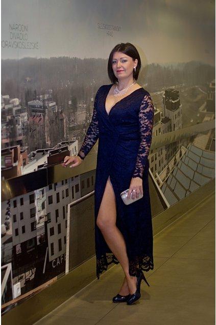 Dlouhé šaty Luxuriously s vysokým rozparkem modré 5