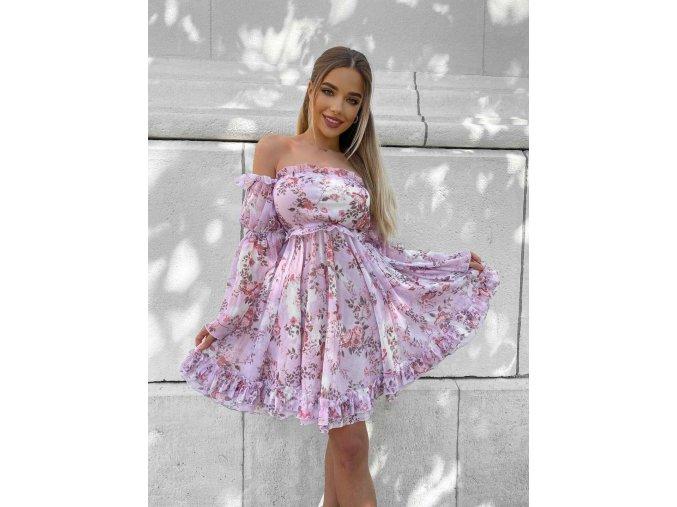"""Luxusní květinové šaty """"DIVA"""" - růžové, tyrkysové,  fialkové, bílé"""