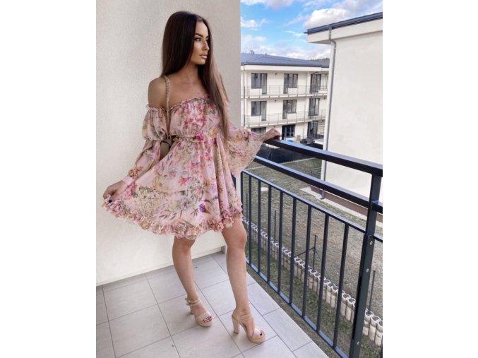 """Luxusní květinové šaty """"DIVA"""" - růžové, tyrkysové"""