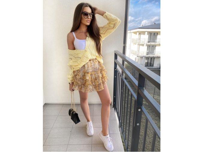 Exkluzivní kolekce - ažurový svetr, volánková sukně - žlutá