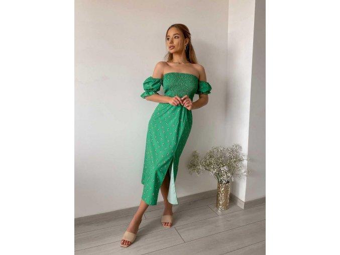 Zelené midi šaty s rozparkem