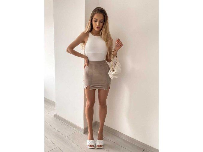 Béžová sukně s rozparky