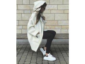 """Svetrový mohérový kabát """"SUE"""" - šedý / pudrový"""
