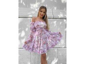 """Luxusní květinové šaty """"DIVA"""" - růžové"""