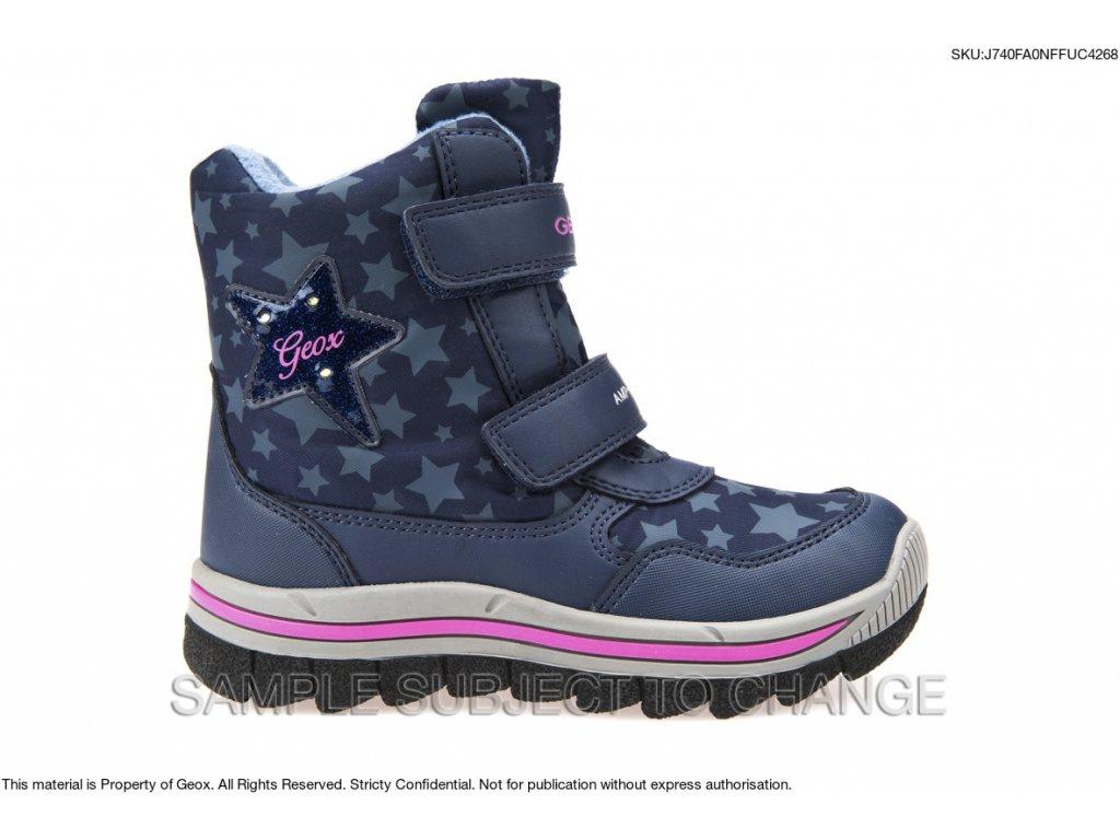 Zimná dievčenská nepremokavá obuv blikajúca Geox J740FA ONFFU C4268 ... 197f3ea032d