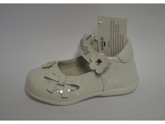 Celokožená lesklá biela obuv Lelli Kelly DA01