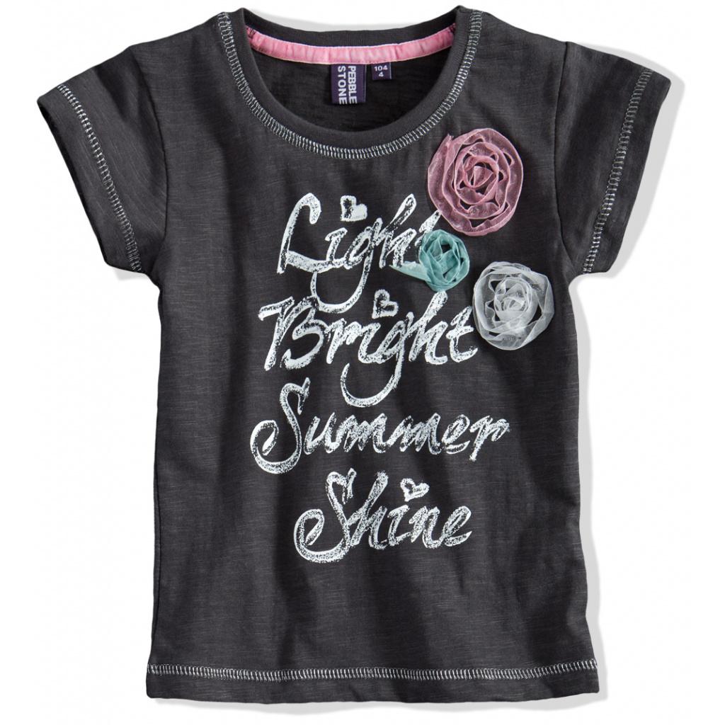 Dívčí tričko krátký rukáv PEBBLESTONE šedé