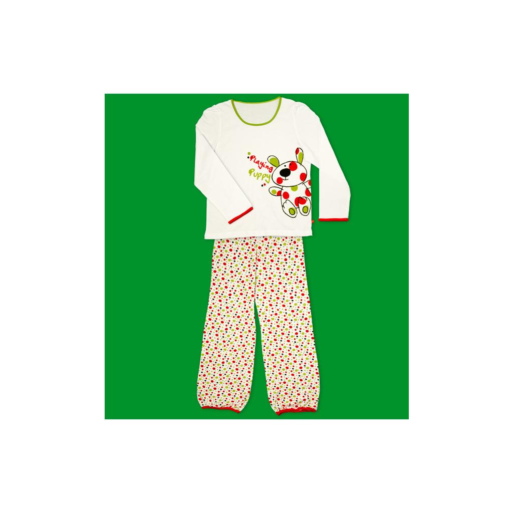 Dívčí pyžamo KEY PLAYING PUPPY bílé