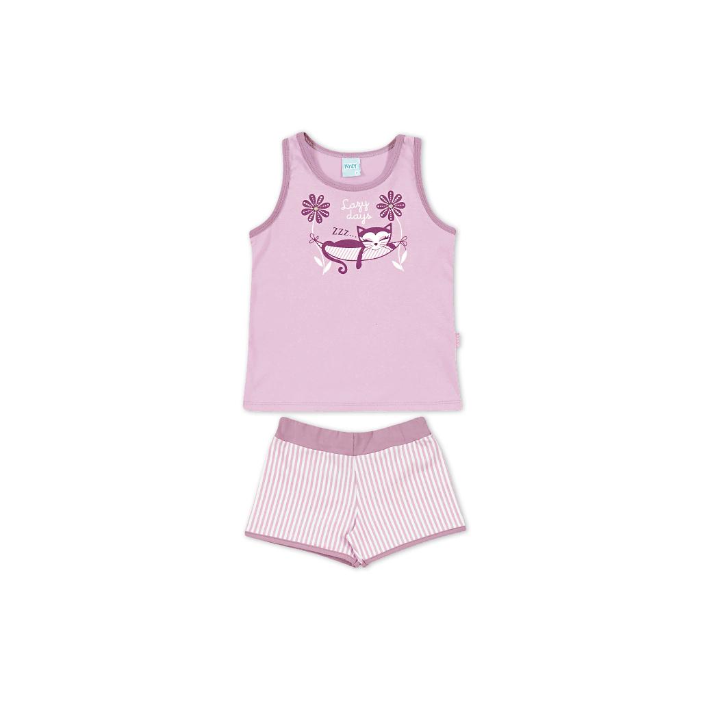 Dívčí letní pyžamo Kyly KOČKA fialové