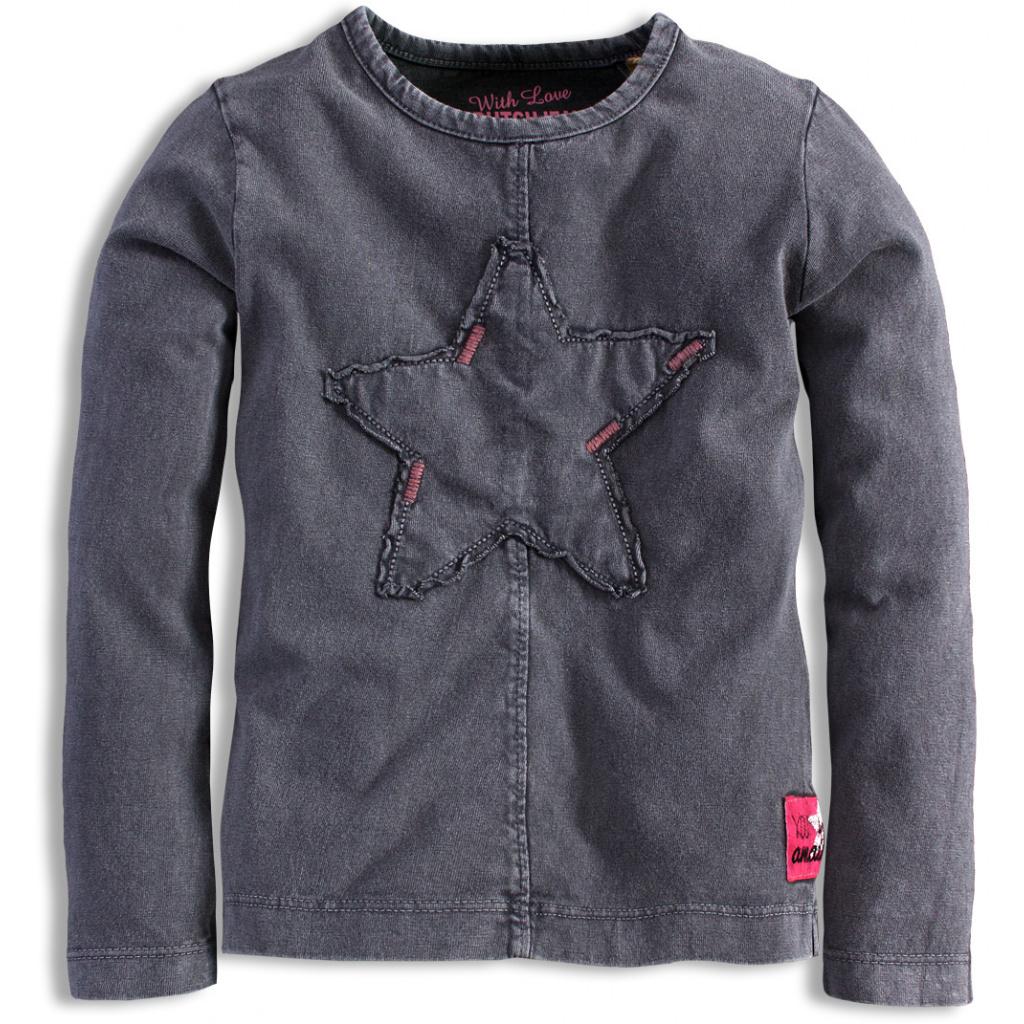 Dívčí triko s dlouhým rukávem DIRKJE EVERY MOMENT hvězdy šedé