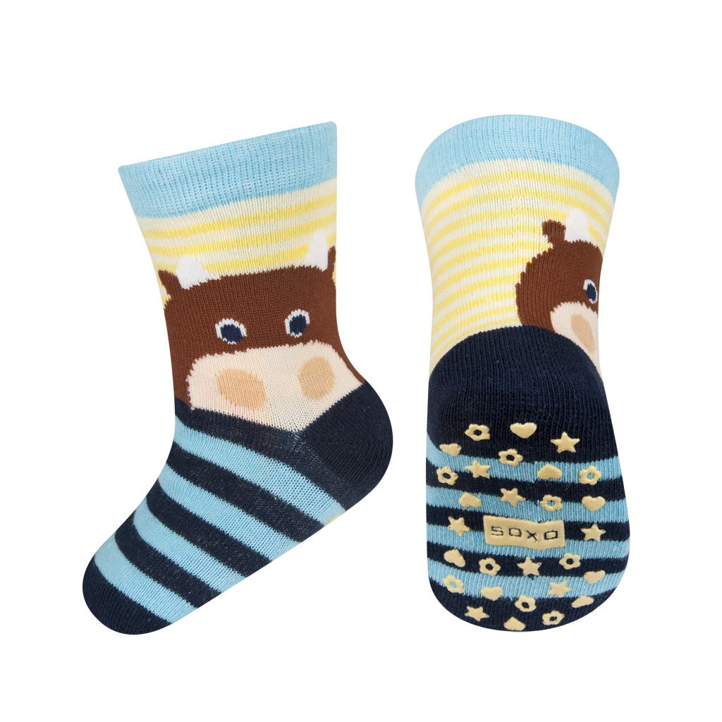 462ba1b7bb2 Dětské ponožky s protiskluzem SOXO ZVÍŘÁTKO modré