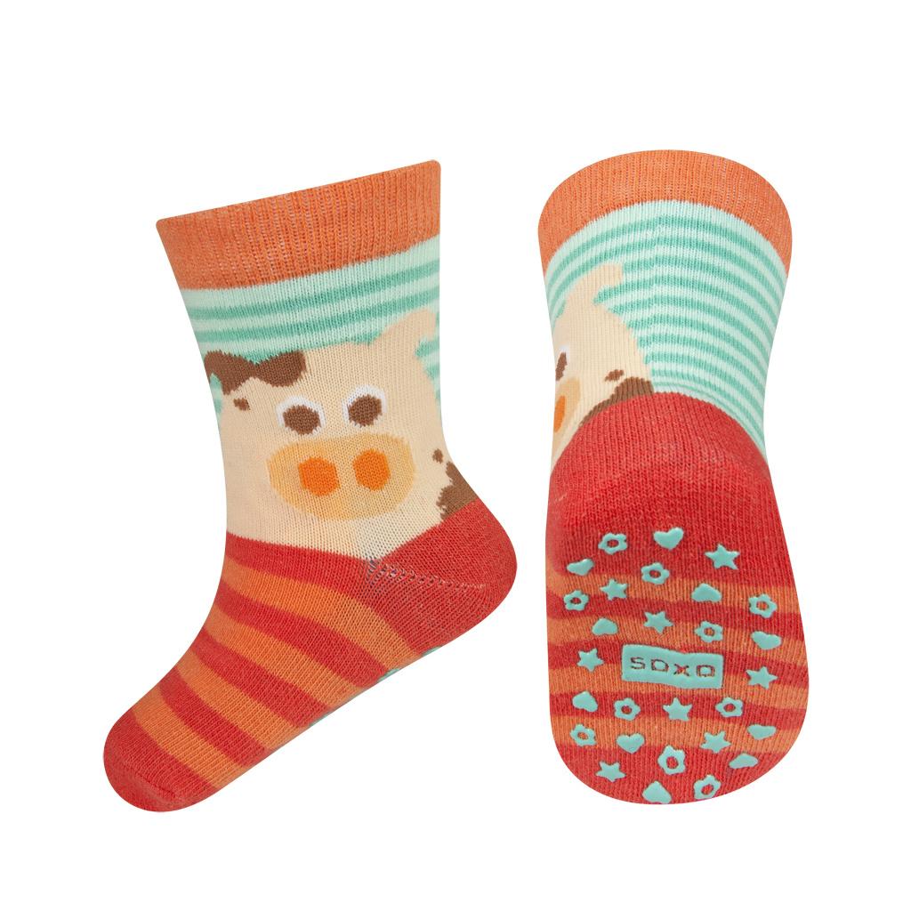 bc7a9bb3832 Dětské ponožky s protiskluzem SOXO PRASÁTKO oranžové