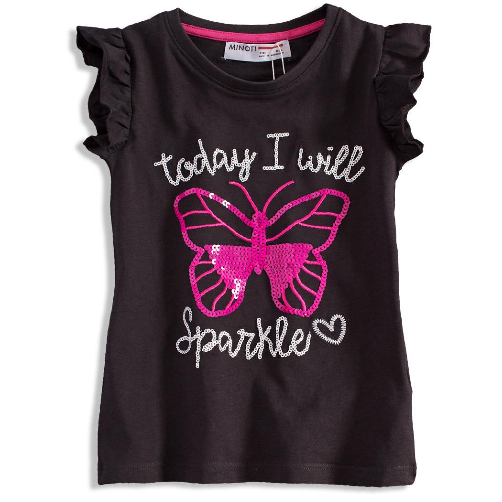 Dívčí triko s potiskem MINOTI MOTÝL