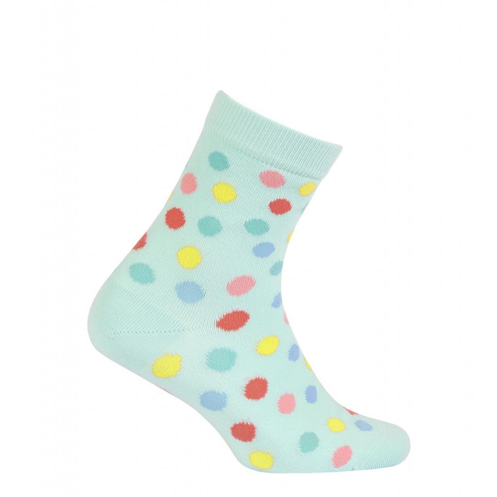 Dívčí vzorované ponožky WOLA PUNTÍKY tyrkysové