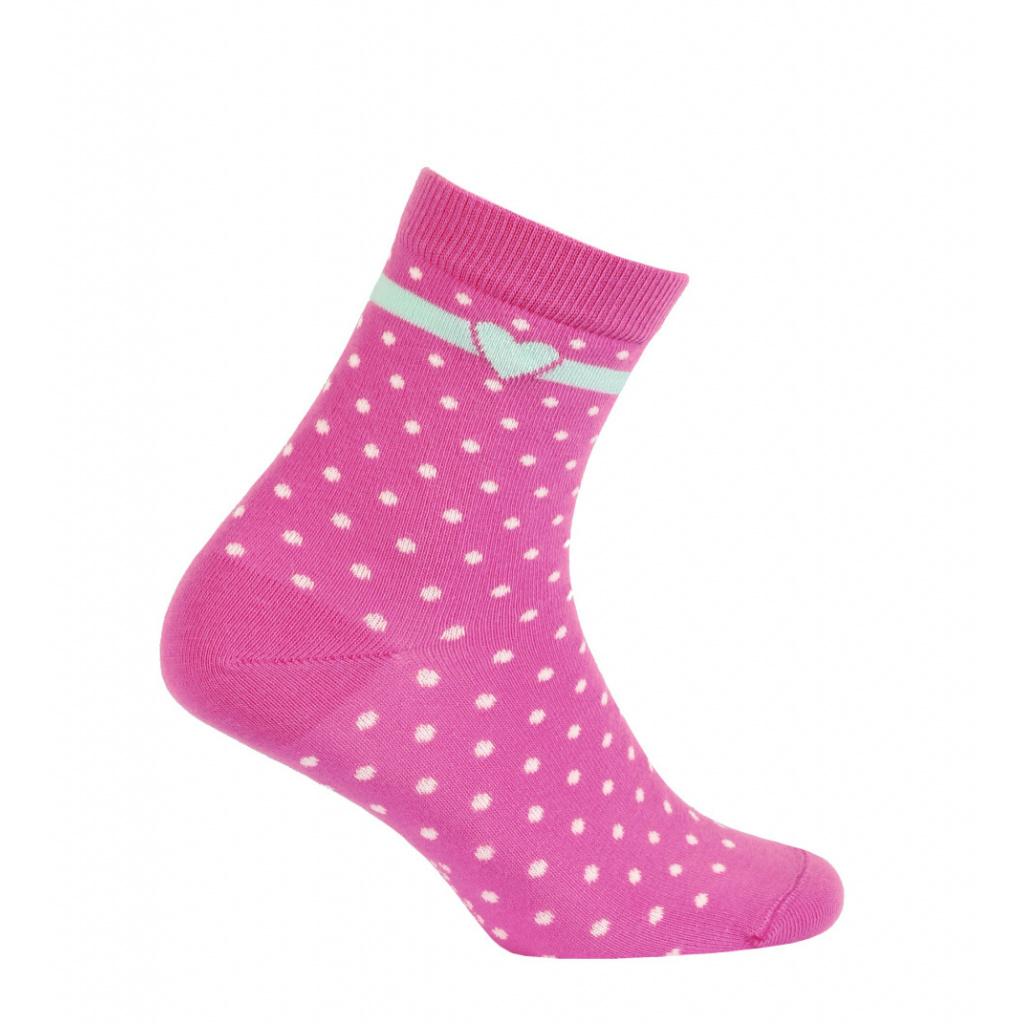 Dívčí vzorované ponožky WOLA TEČKY, SRDÍČKO tmavě růž
