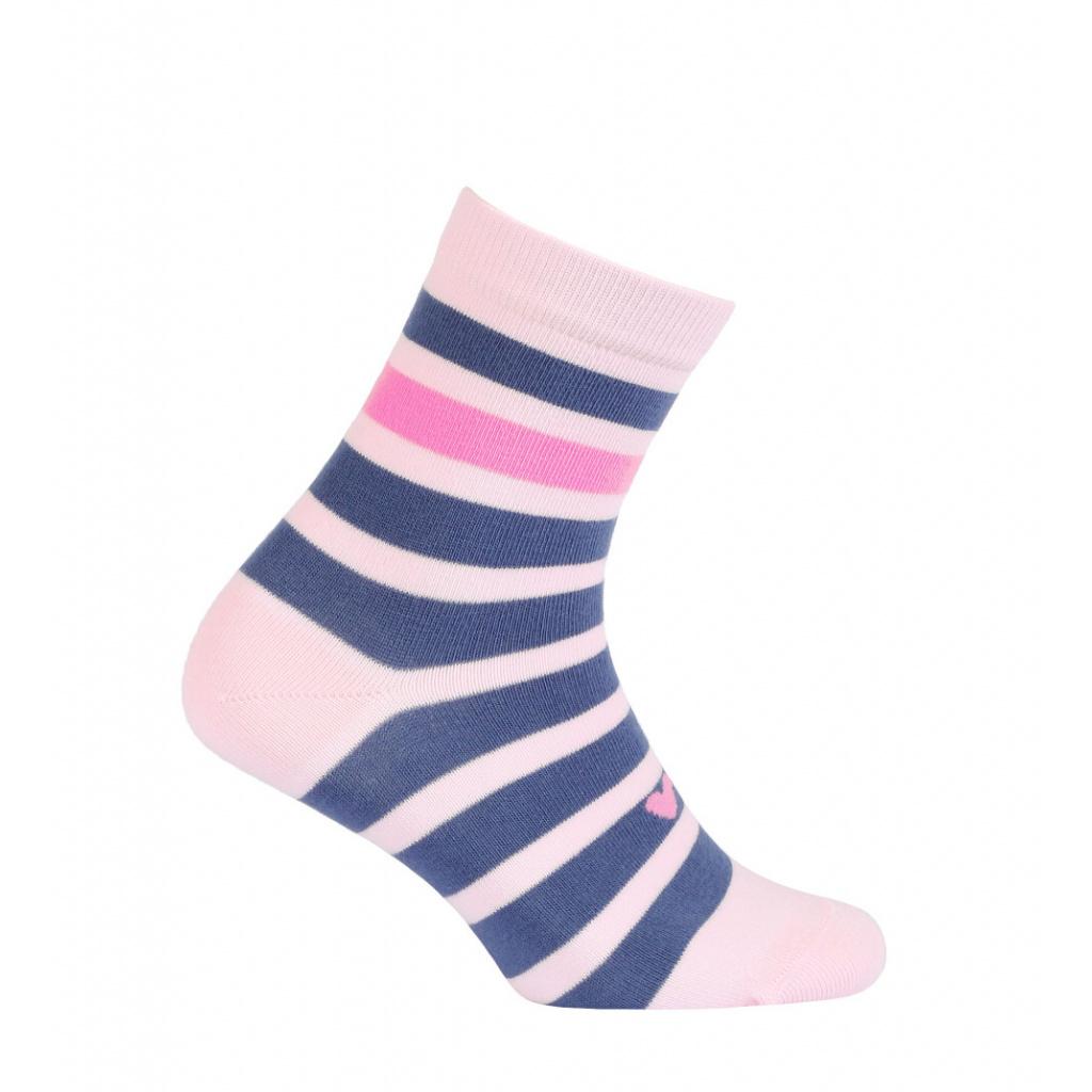 Dívčí vzorované ponožky WOLA PROUŽKY růžové