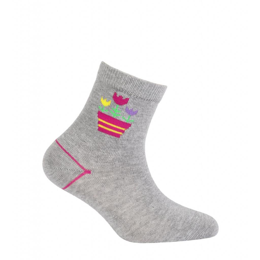 Dívčí ponožky WOLA TULIPÁNY šedé