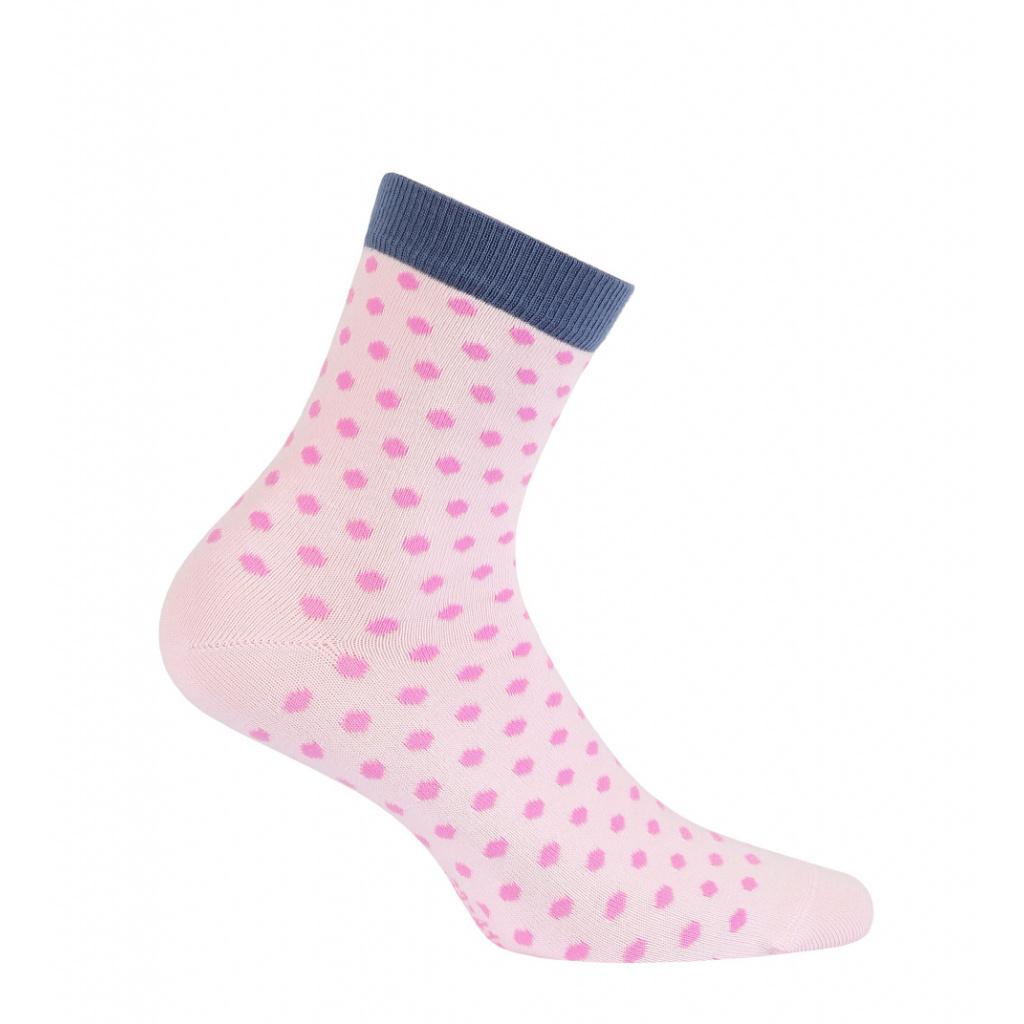 Dívčí vzorované ponožky WOLA PUNTÍČKY růžové