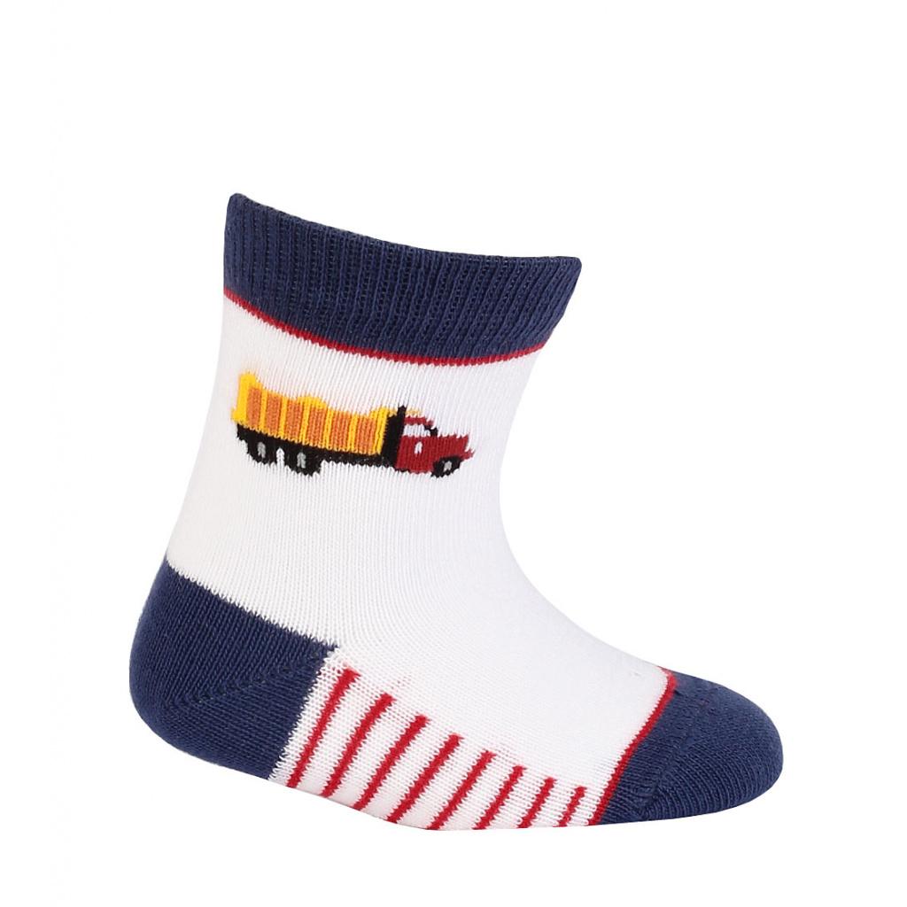 Kojenecké chlapecké ponožky WOLA NÁKLADNÍ AUTO bílé