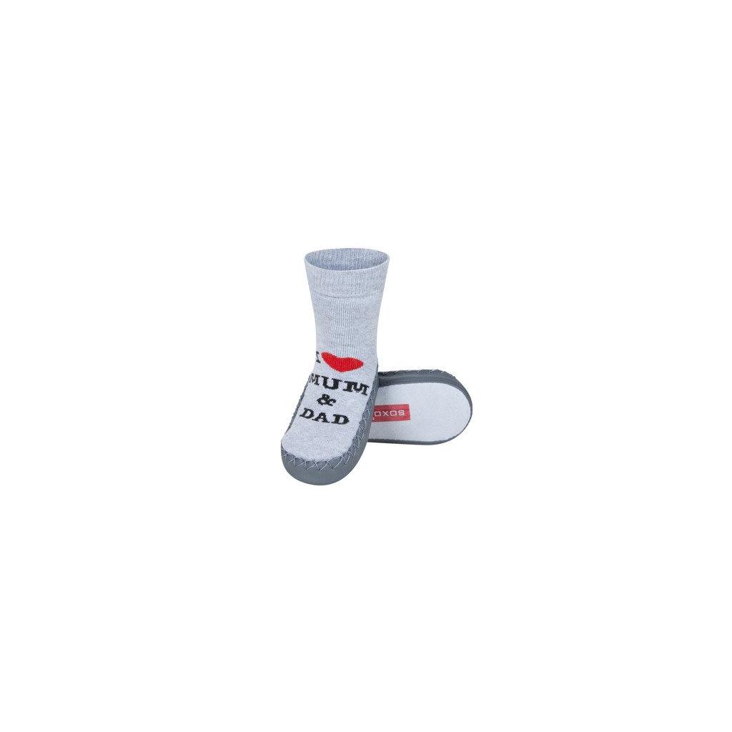 Dětské ponožky s koženou podešví LOVE šedé
