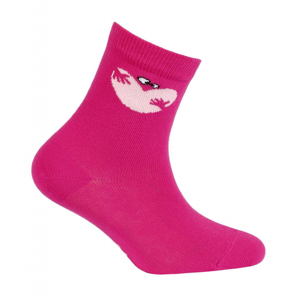 Dívčí vzorované ponožky WOLA SRDCE tmavě růžové
