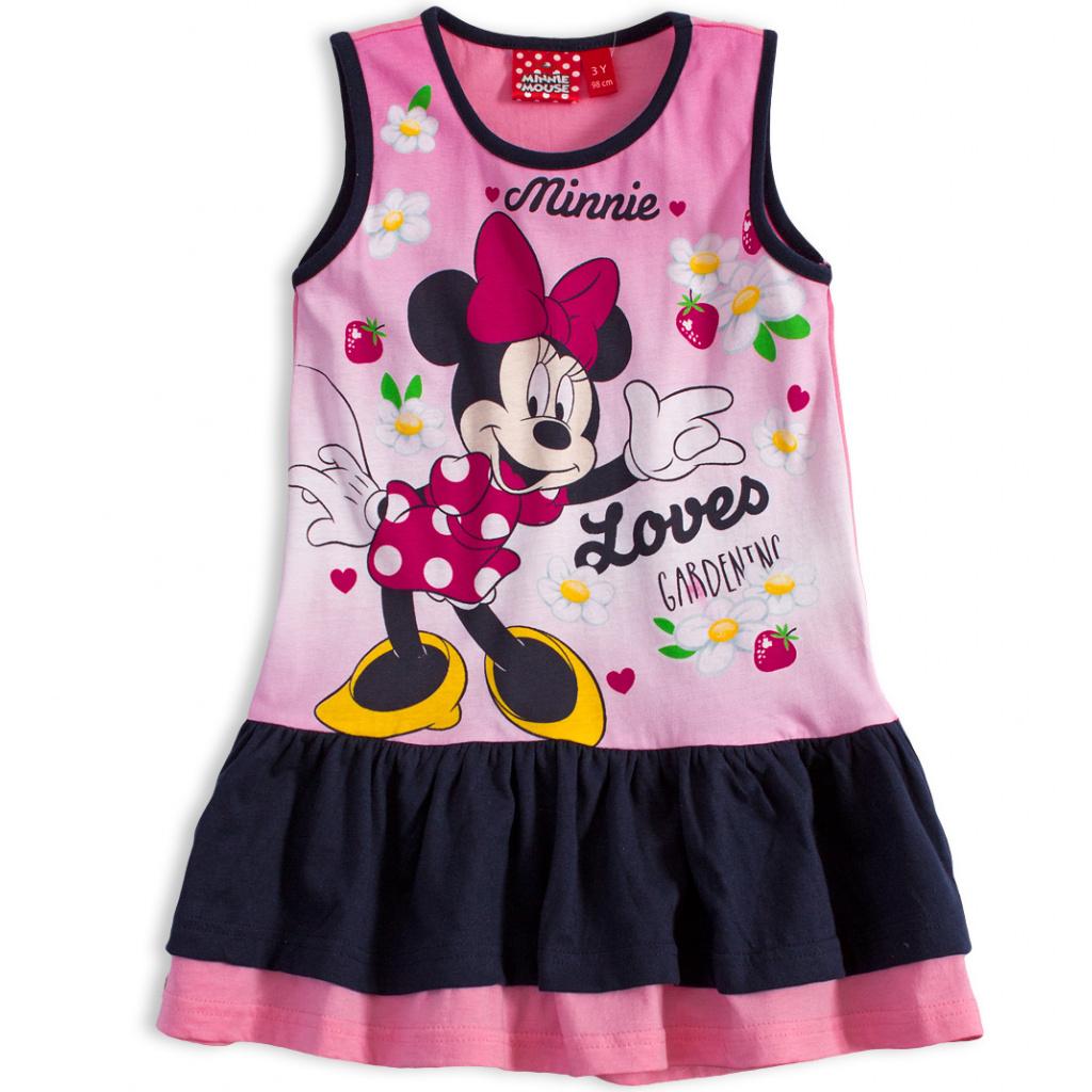 5d1e312789b7 Dívčí letní šaty Disney MINNIE GARDEN modrý volán