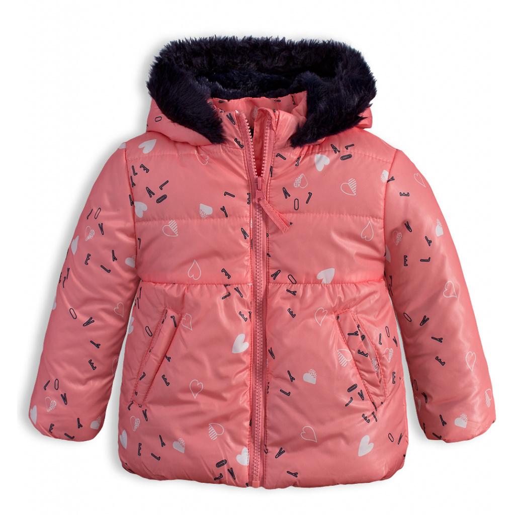 Dívčí zimní bunda LEMON BERET SRDÍČKA růžová