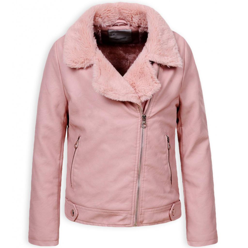 Dívčí kožená bunda GLO STORY růžová