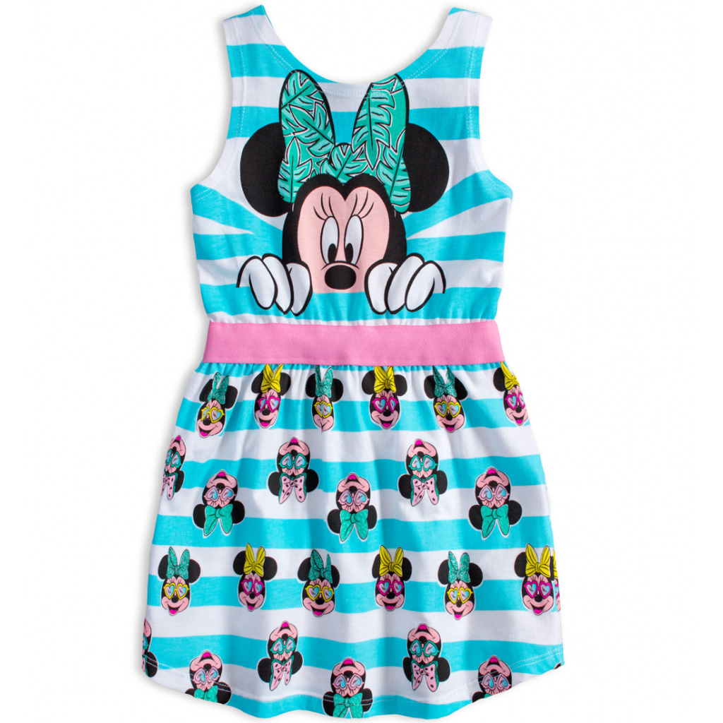 Dívčí letní šaty DISNEY MINNIE SUMMER tyrkysové pruhy