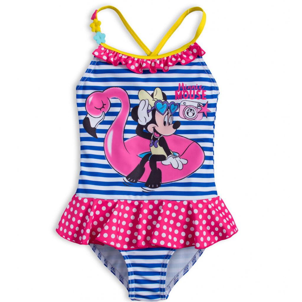 Dívčí plavky DISNEY MINNIE PLAMEŇÁK modrý proužek