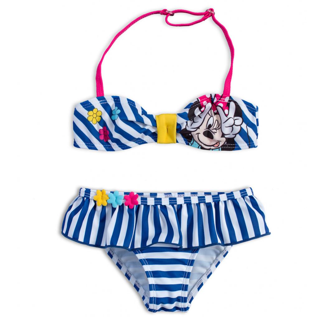 Dvoudílné dívčí plavky DISNEY MINNIE KYTIČKY modé