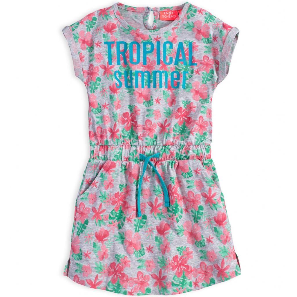 Dívčí šaty KNOT SO BAD TROPICAL SUMMER šedé