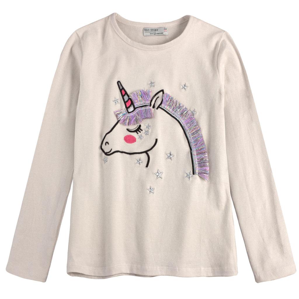 divci tricko glo story unicorn kremove