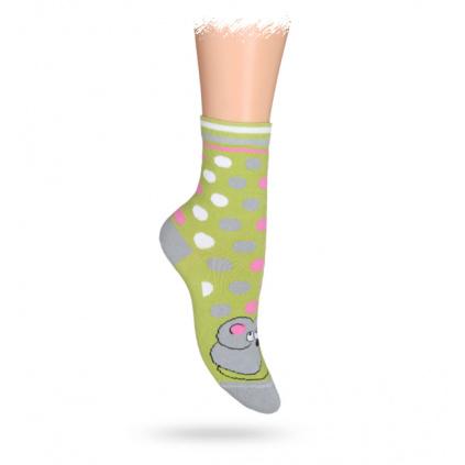 Dětské ponožky ABS vzor MYŠKA zelené