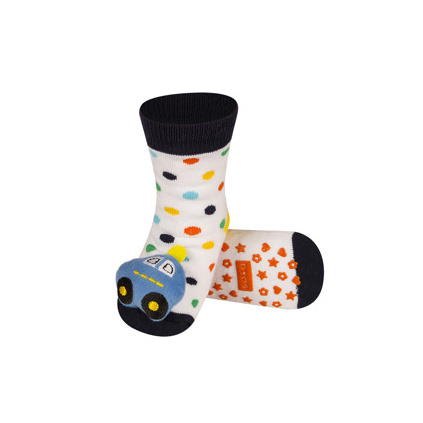 Ponožky s chrastítkem AUTO bílé