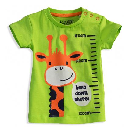 Dětské tričko s krátkým rukávem KNOT SO BAD ŽIRAFA zelené