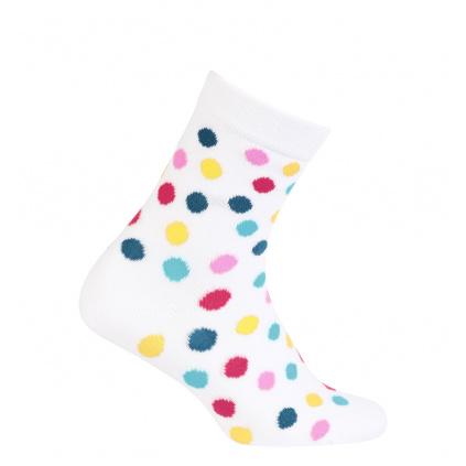 Dívčí vzorované ponožky WOLA PUNTÍKY bílé